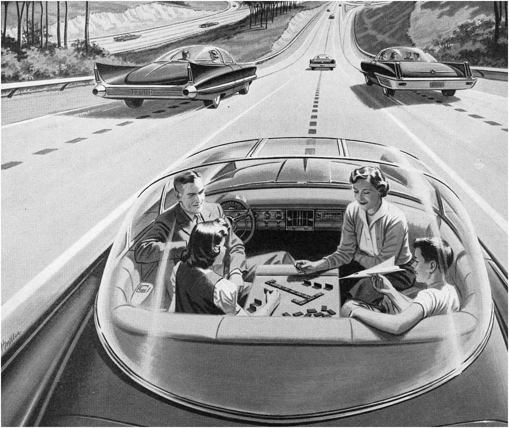 This magazine advertisement from the 1950s extolled the future of transportation, saying that 'One day your car may speed along an electric super-highway, its speed and steering automatically controlled by electronic devices embedded in the road. Travel will be more enjoyable. Highways will be made safe — by electricity! No traffic jams...no collisions...no driver fatigue.'
